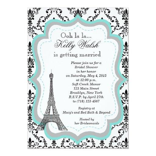 Eiffel Tower Bridal Shower Invitations as adorable invitation design