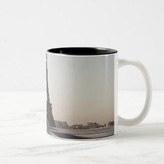 Eiffel Tower at dusk, Paris, Ile-de-France, Two-Tone Coffee Mug