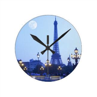Eiffel Tower at Dusk Round Clock