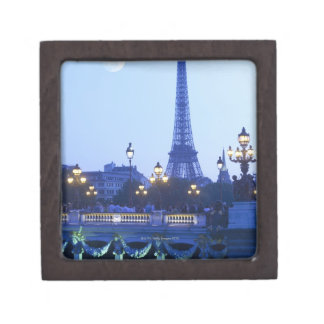 Eiffel tower at dusk with moonrise jewelry box