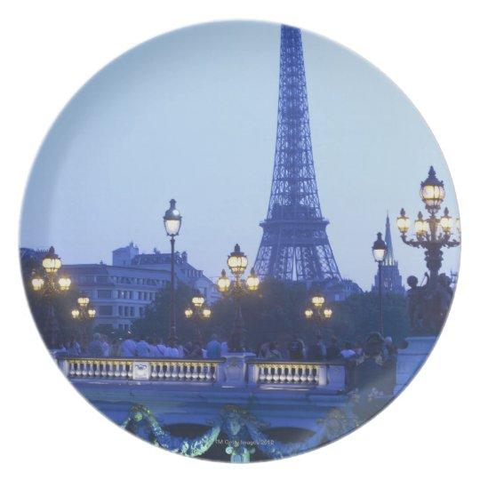 Eiffel tower at dusk with moonrise melamine plate