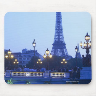 Eiffel tower at dusk with moonrise mouse pad