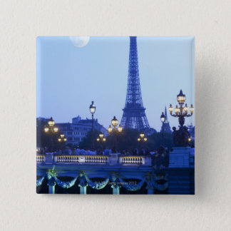 Eiffel tower at dusk with moonrise pinback button