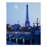 Eiffel tower at dusk with moonrise poster