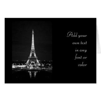 Eiffel Tower at Night - B/W Card