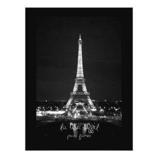 Eiffel Tower at Night B&W Photographic Print