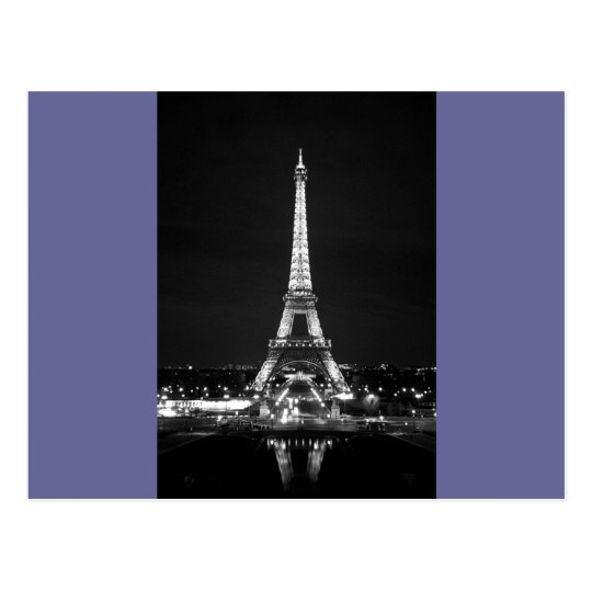 Eiffel Tower at Night - B/W Postcard