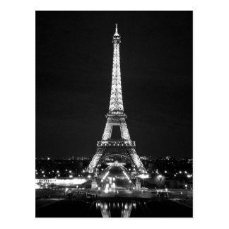 Eiffel Tower at Night - B/W Postcard