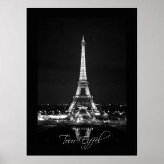 Eiffel Tower at Night B&W Poster