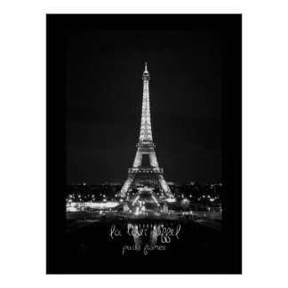 Eiffel Tower at Night B&W Poster
