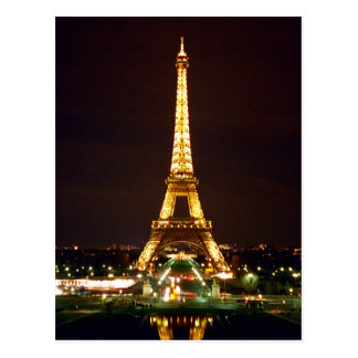 Eiffel Tower at Night - Color Postcard