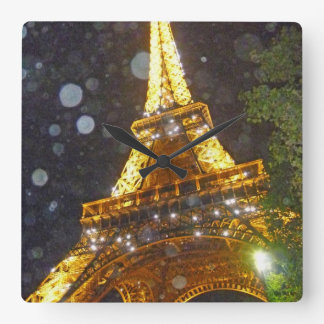 Eiffel Tower at Night, in the Rain! Square Wall Clock