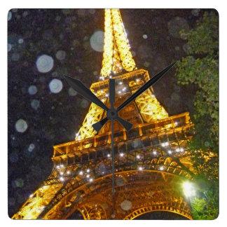 Eiffel Tower at Night, in the Rain! Wall Clocks
