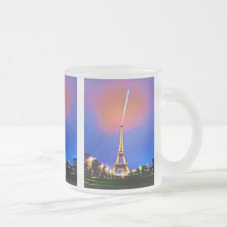 Eiffel Tower At Night Painting Frosted Glass Coffee Mug