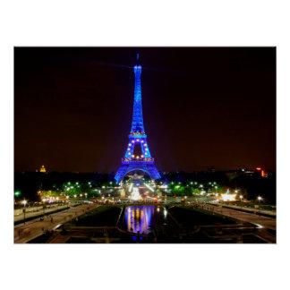 Eiffel Tower at night, Paris Poster