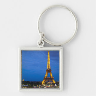 Eiffel Tower at Night Silver-Colored Square Keychain