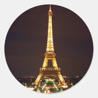 Eiffel Tower at Night Round Stickers