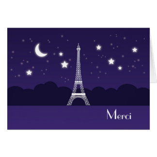 Eiffel Tower at Night Thank You Card