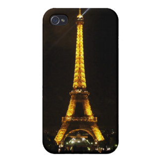 Eiffel Tower - At night, yellow light and beam Covers For iPhone 4