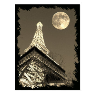 Eiffel Tower at Paris Las Vegas under a Full Moon Postcard