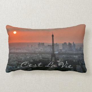 Eiffel Tower at Sunrise Sunset Lumbar Pillow