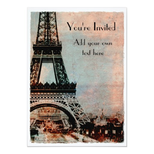 Eiffel Tower at Sunrise Vintage Style Personalized Announcements