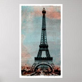 Eiffel Tower at Sunrise Vintage Style Print
