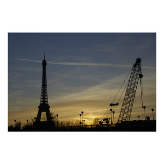 Eiffel Tower at Sunset and Crane Poster