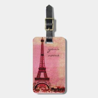 Eiffel Tower at Sunset Paris Custom Luggage Tag