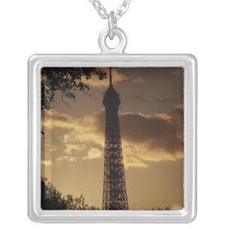 Eiffel Tower at sunset, Paris, France Square Pendant Necklace