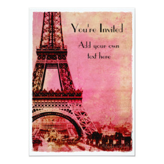 Eiffel Tower at Sunset Vintage Style Personalized Invite
