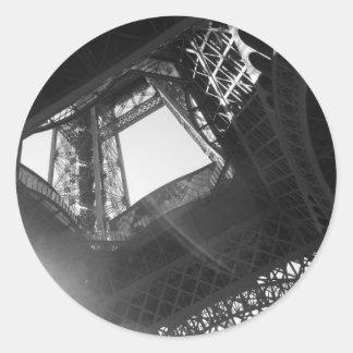 Eiffel Tower B&W Classic Round Sticker