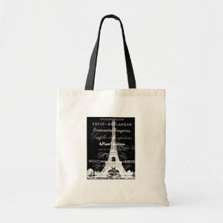 Eiffel Tower Badget Tote Black