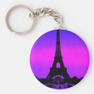 Eiffel Tower Basic Round Button Keychain