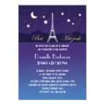 """Eiffel Tower Bat Mitzvah Invitation 5"""" X 7"""" Invitation Card"""