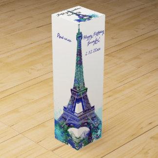 Eiffel tower Birthday Wine Gift Box