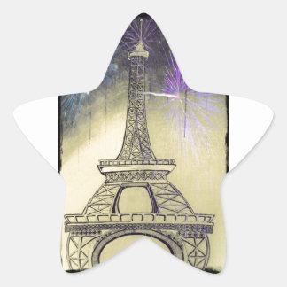 Eiffel tower black and white fireworks star sticker