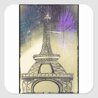 Eiffel tower black and white fireworks square sticker
