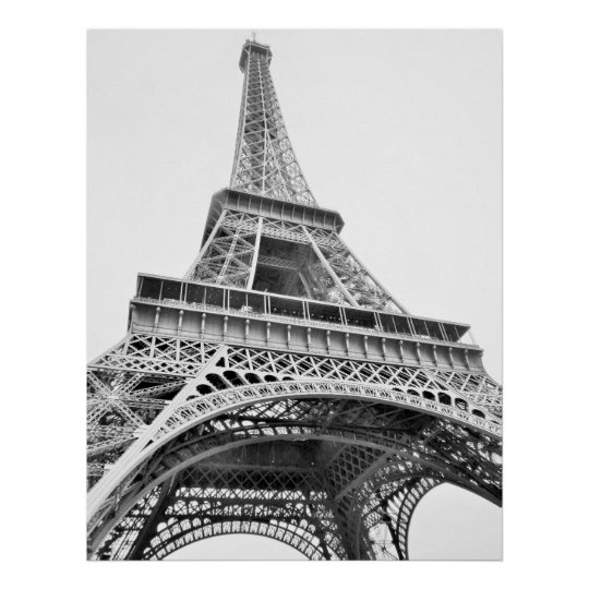 Eiffel Tower Black And White Poster