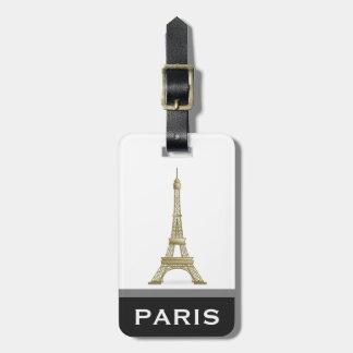 Eiffel Tower Black Modern Paris Word Custom Luggage Tag