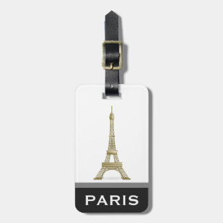 Eiffel Tower Black Modern Paris Word Custom Tag For Bags