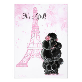Eiffel Tower & Black Poodle Girl Baby Shower Card