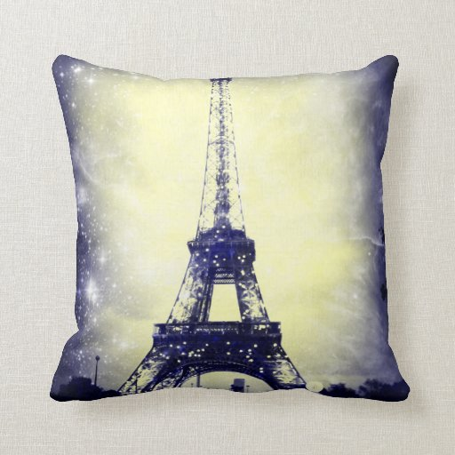 Gold Blue Decorative Pillow : Eiffel Tower, Blue and Gold, Throw Pillow Zazzle