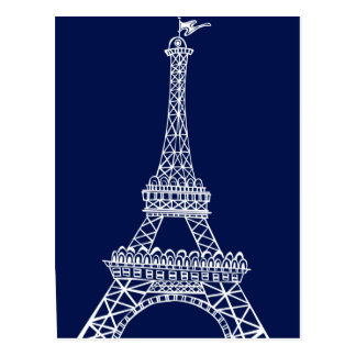 Eiffel Tower Blue and White Template Postcard