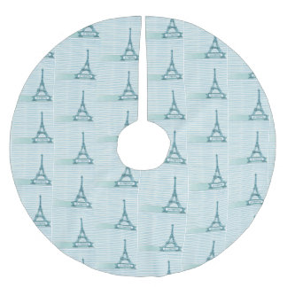 Eiffel Tower Blue French Christmas Tree Skirt