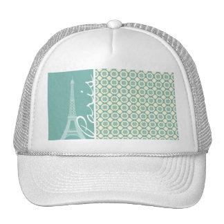 Eiffel Tower; Blue-Green & Cream Paris Mesh Hats