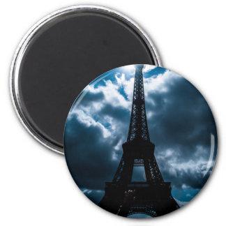 Eiffel Tower Blue Night 2 Inch Round Magnet