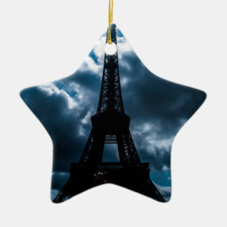 Eiffel Tower Blue Night Ceramic Ornament
