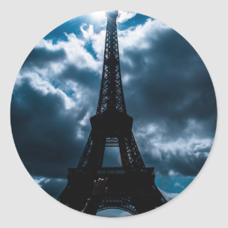 Eiffel Tower Blue Night Classic Round Sticker