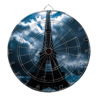 Eiffel Tower Blue Night Dartboard